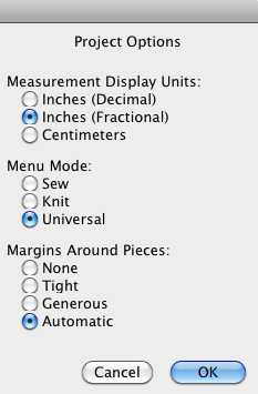 Projects Menu for Metric or Inches