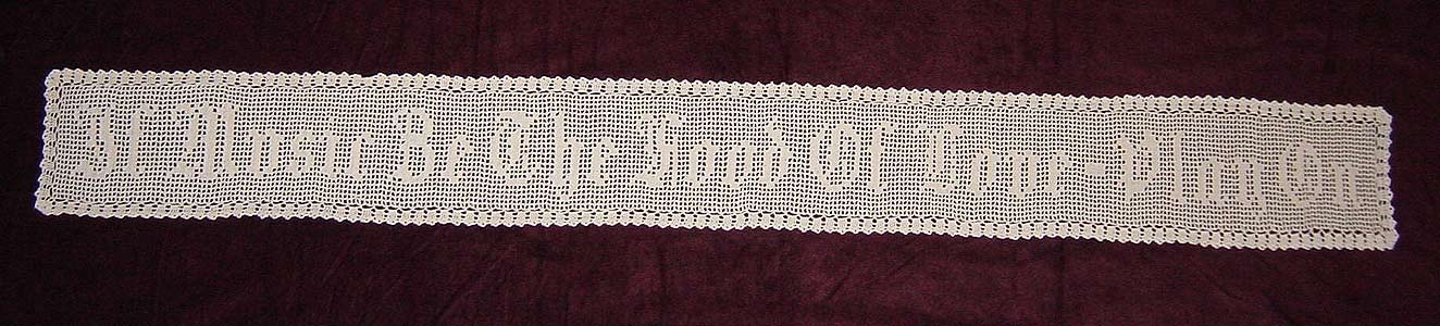 Shakespeare Table Runner -  Hand  Knit