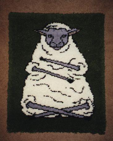 """Pat Ashforth & Steve Plummer """"Sheep Rug"""" Hooked Rug, wool"""
