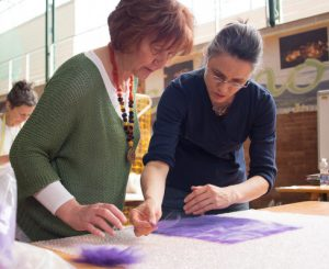 lisbeth wahl demonstrating nuno felting